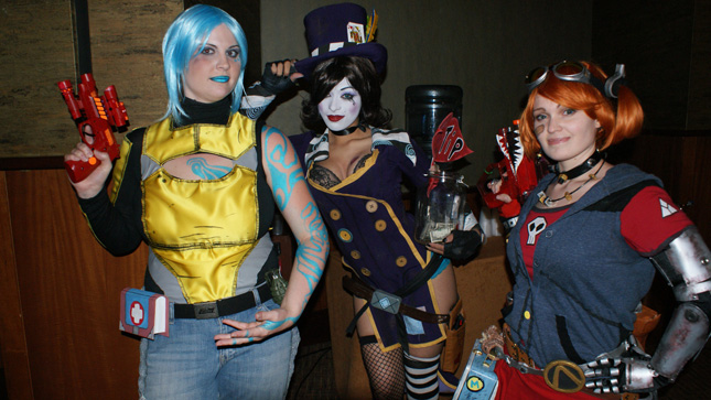 a Borderlands group: (L-R) Maya, Mad Moxxi, and the Mechromancer