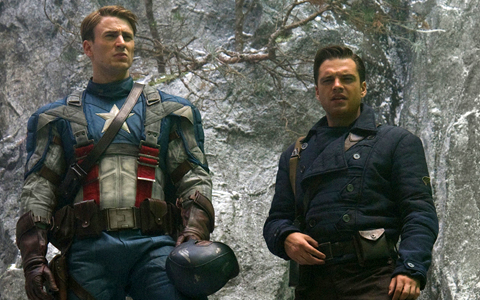 Chris Evans as Captain American with Sebastian Stan as Bucky Barnes