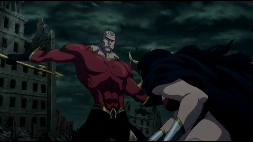 Aquaman facing off with Wonder Woman