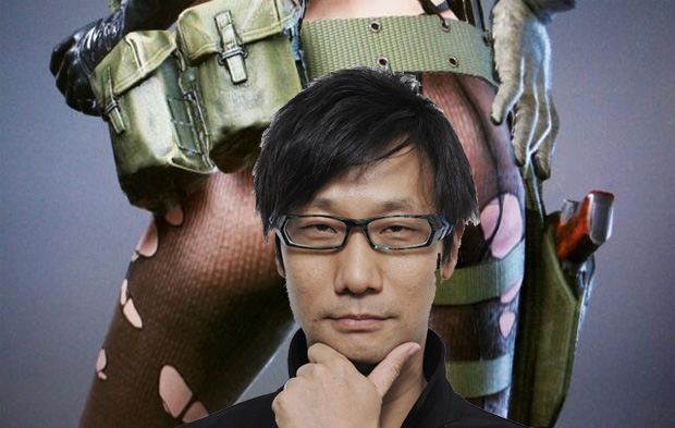 Kojima with a peek at Quiet 's new erotic design in the background.