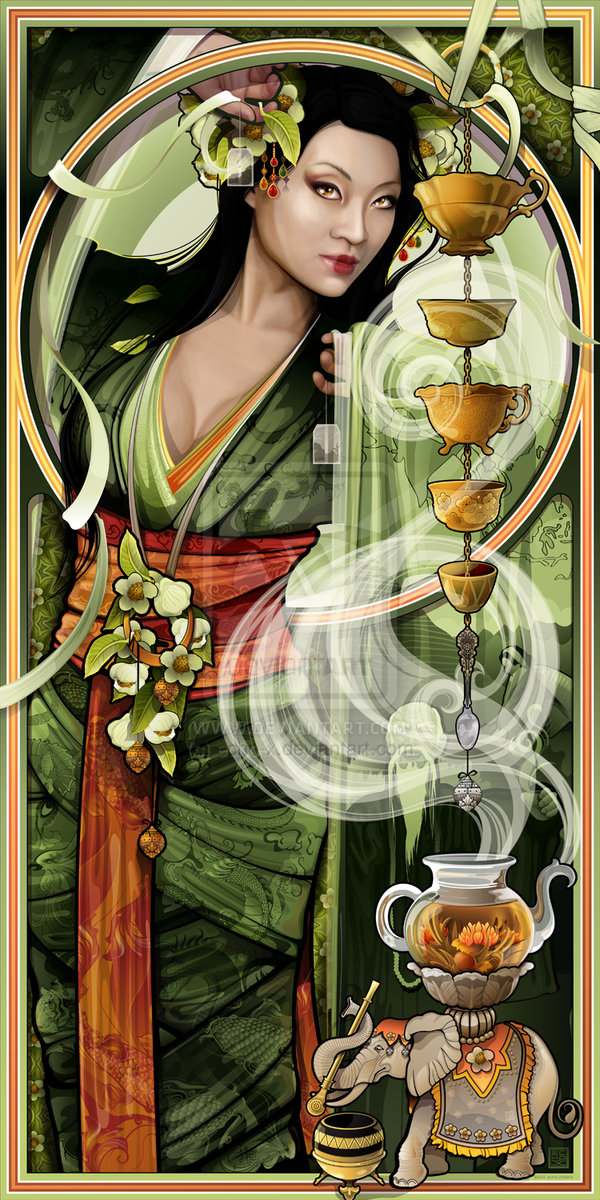 Goddess of Tea modeled by Yaya Han, photo extracted from DA page.