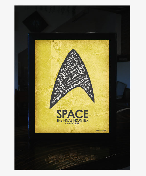 Star Trek Quote Light Box - lit up! Picture from https://www.etsy.com/shop/UnikoIdeas