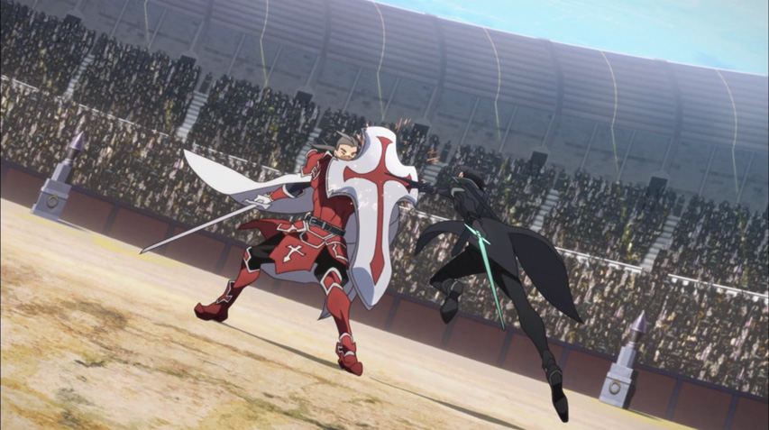 Kirito battling Heathcliff in SAO