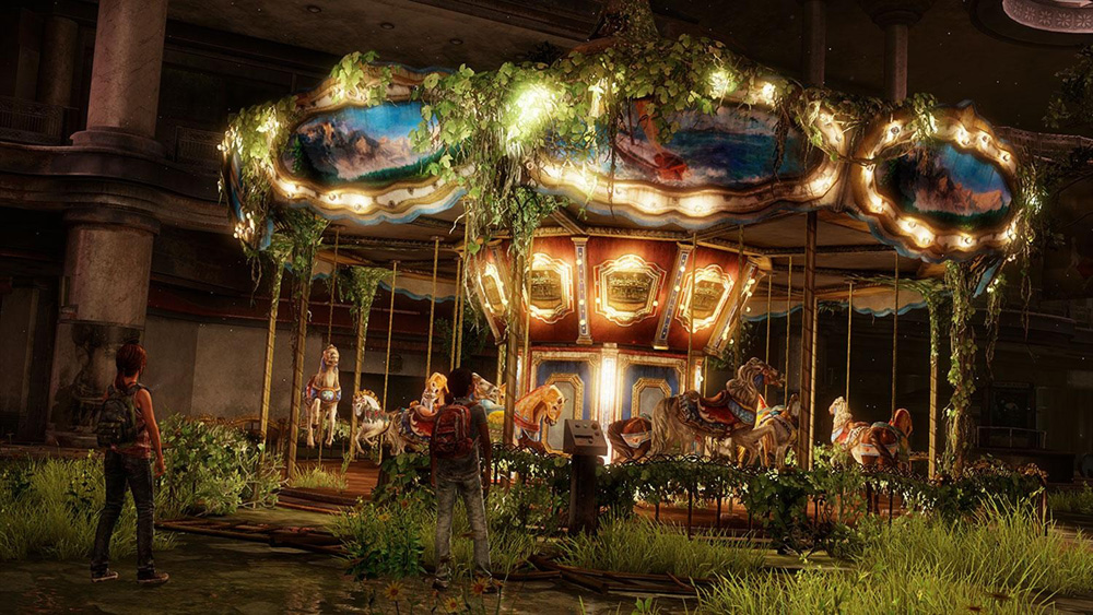 Ellie and Riley come across an abandoned merry-go-round... bright lights and noises kids... you were asking to get attacked!