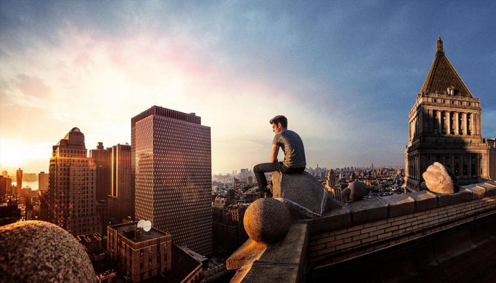 ever watchful... Peter Parker looks over New York's skyline