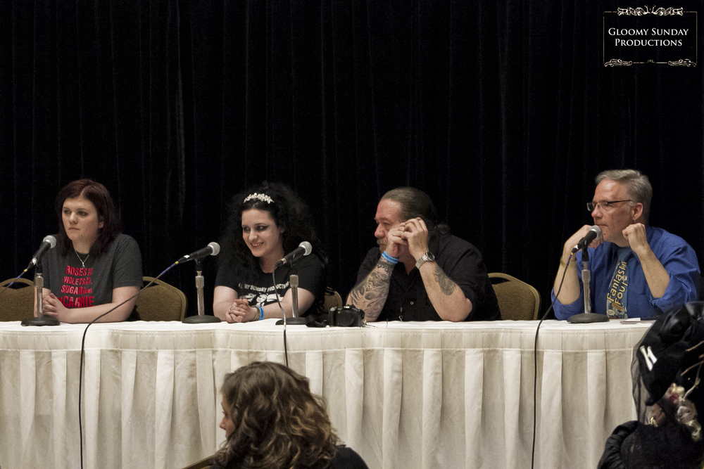 The Grand Guignol Theatre panel: Brittany Carpenter, M.Nessk, William Bivens, and Tony Kay.