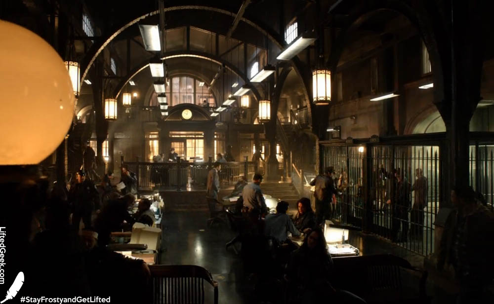 inside the GCPD. Really plays up that dark atmosphere Gotham is known for