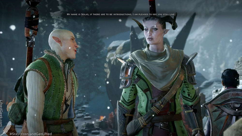 a Quinari Inquisitor meeting Solas