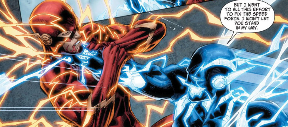 The Flash tangling with an alternate future version of himself