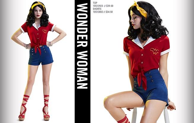 Wonder Woman Top $39.50 and Shorts $34.50