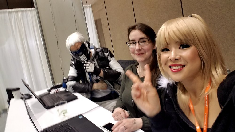 Jechts, Hylian Jean, and Riri cosplay judges