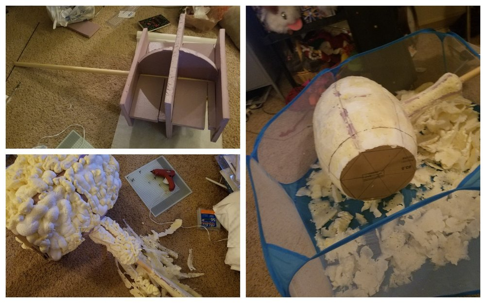 From top left and counter clockwise: create the foundation, fill with expandable foam, and then carve.