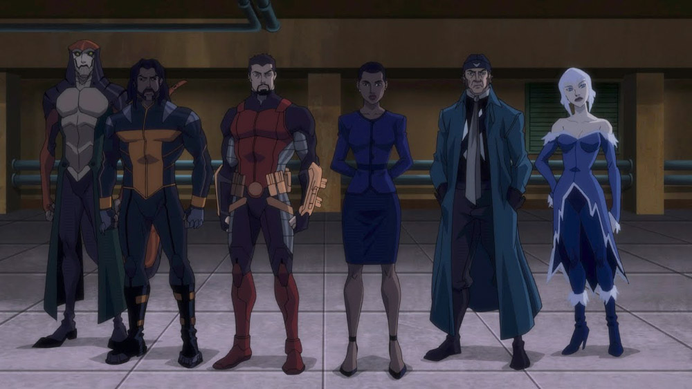 Squad Up! L-R Copperhead, Bronze Tiger, Deadshot, Amada Waller, Captain Boomerang, and Killer Frost