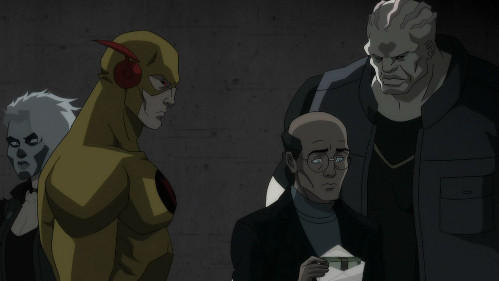 Eobard Thawn, the reverse flash with Silver Banshee and Blockbuster paying off an informant