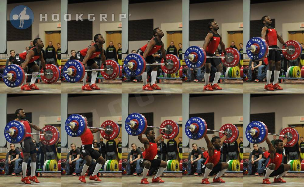 "Darrel ""Skittles"" Barnes (-62kg, USA) snatching 121kg at the 2014 Junior Nationals. This lift (3kg short of double bodyweight) set a new Junior and Senior American record by breaking LeGrand Sakamaki's 120kg lift from way back in 1998.   - Via: hookgrip"