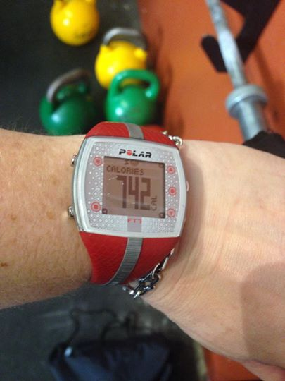 Tonya's heart rate monitor tells us that a typical WOD burns the calorie equivalent of a burger and fries.