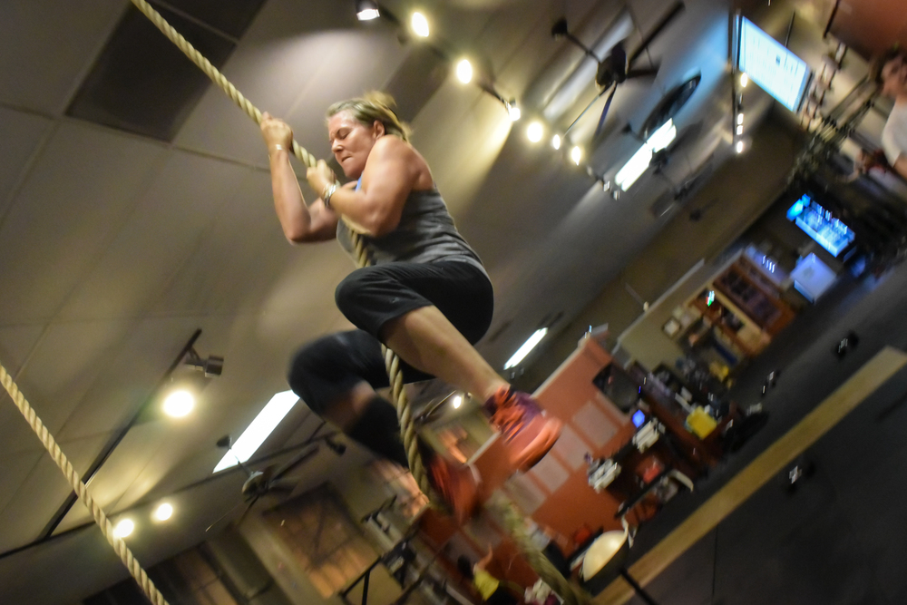 "Kim's proud husband Dave exclaims- ""Kim beats her rope-climb goal before her 50th B-day. The goal is now upped to do 50 total climbs by then. It's getting hot in here!"""
