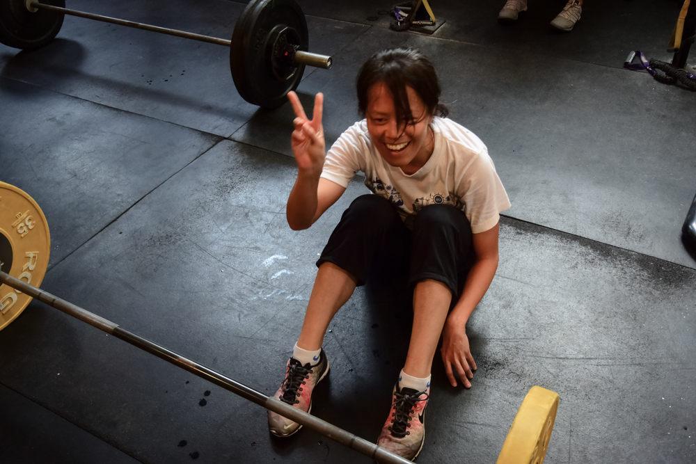 Yi-Ting claims victory over the WOD flashing the V sign!