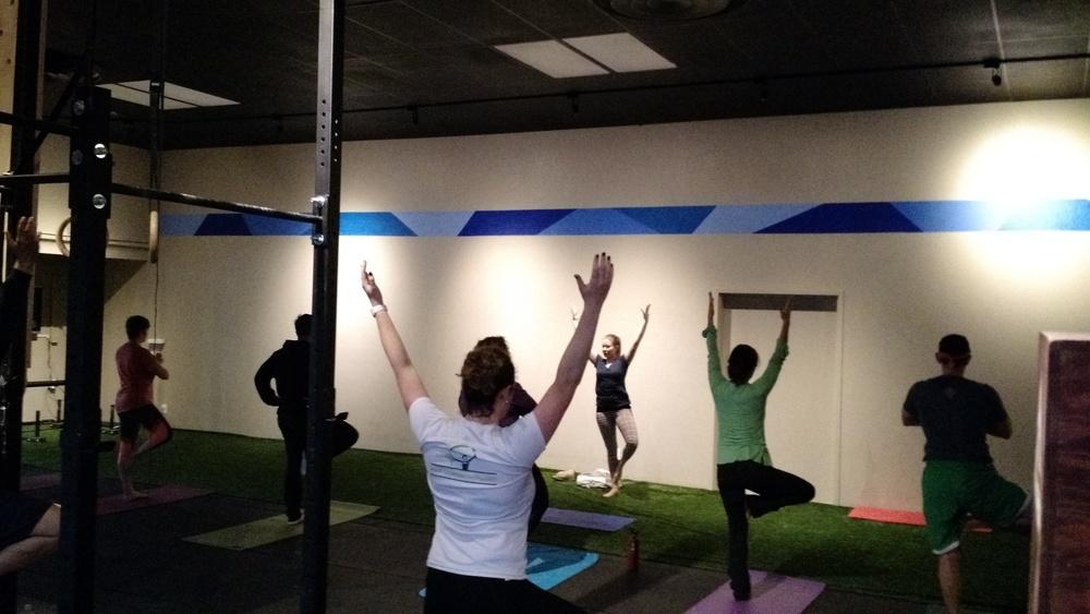 Bird on fire-Phoenix teaches yoga to a packed CFSV house last Saturday morning!