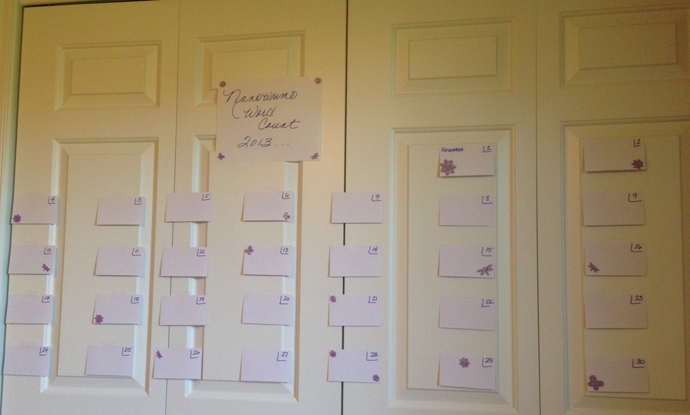 My closet door word count calendar
