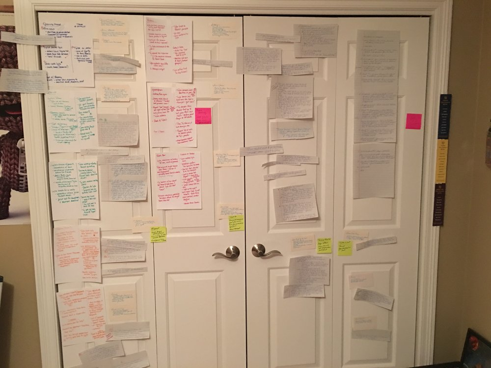 This closet has had its share of story taped to it…