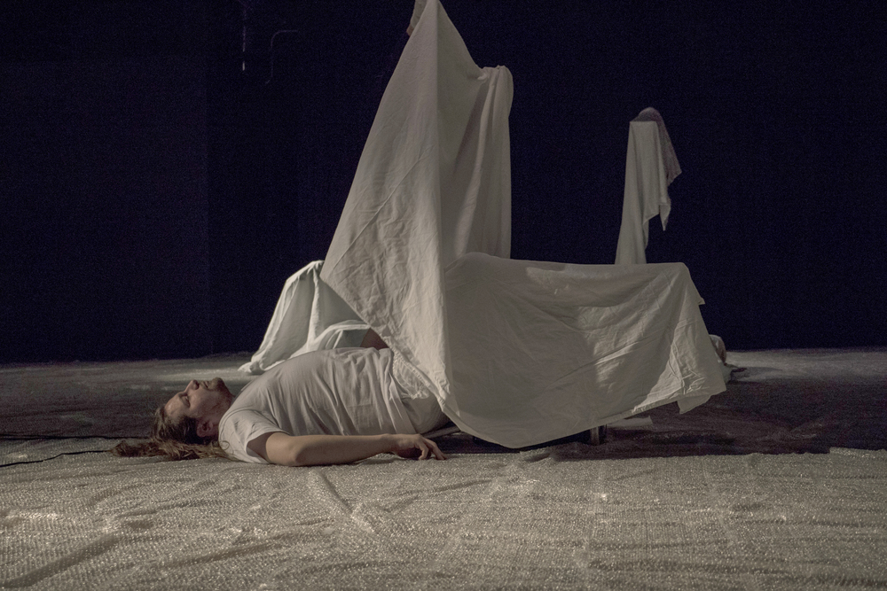 Still from Of one's Hour, Part II, Links Hall, 2016. Image credit: Ji Yang, performers: Hope Esser and Efren Arcoiris