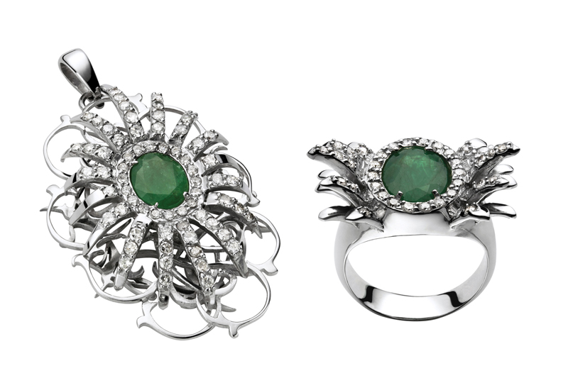 Belleville Collection by Carmen Zambrano. Pendant in white gold, diamonds and emerald and ring in white gold, diamonds and emerald.