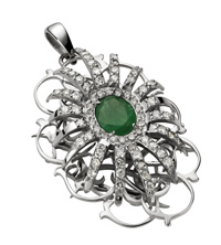 Pendant Belleville  White gold, diamonds and emerald