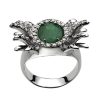 Ring Belleville  White gold, diamonds and emerald