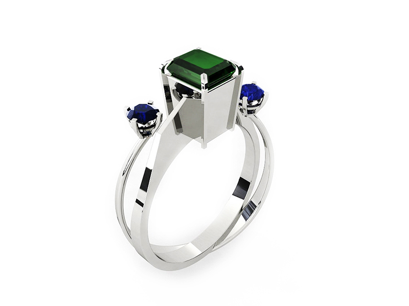 Makeover for a vintage ring from the 60's. We add a complementary piece made in white gold with sapphires to accomplish a contemporary feeling.