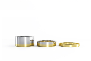 Rings set in 14k yellow and white gold