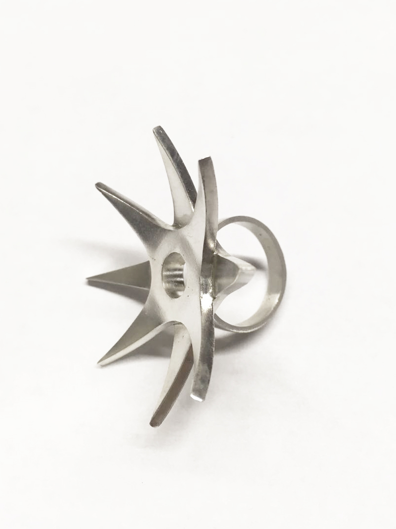 "Star ring  A modern homage to the ancient ""Kakute"" rings worn by female Japanese ninjas. Designed for style and self/defense, the pointed ends of this ring offer an inconspicuous tool for self defense."