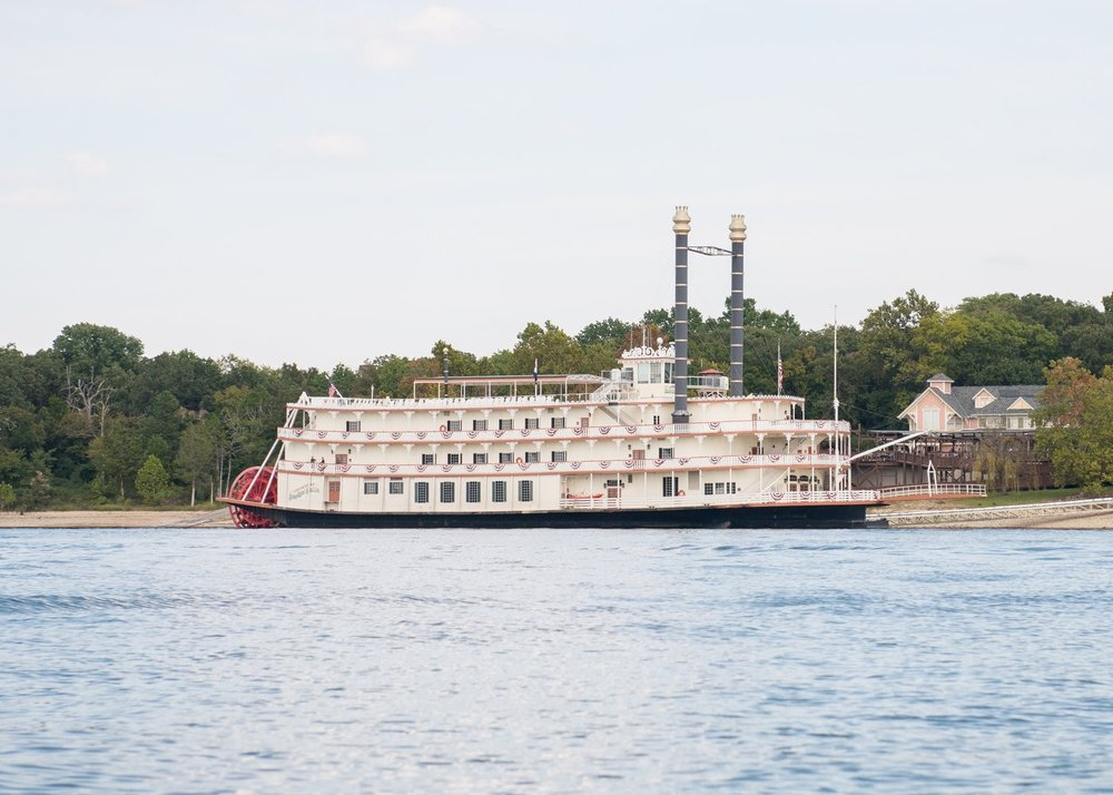 See Table Rock Lake & dinner show on the Showboat Branson Belle. Reservations at 800-775-2628.