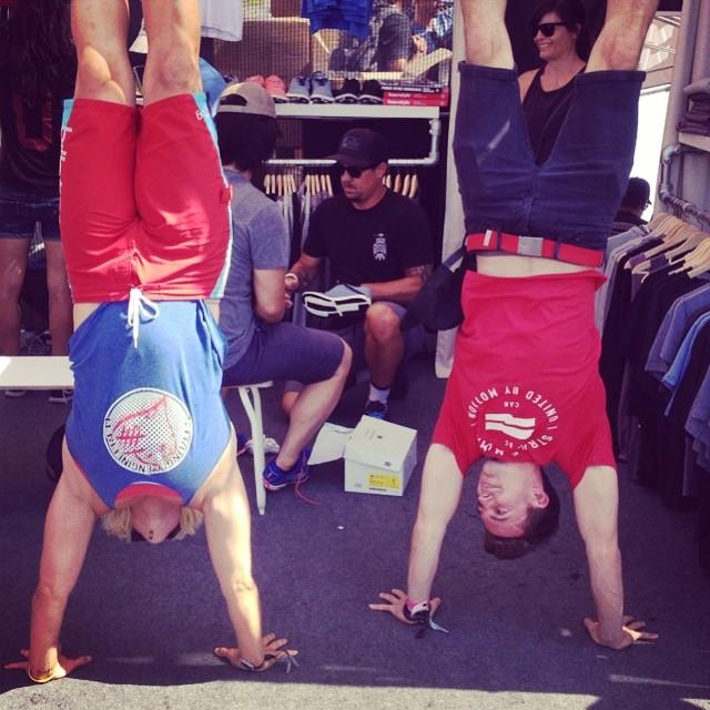 MIA doing a Handstand with Carl Paoli of Gymnastics WOD