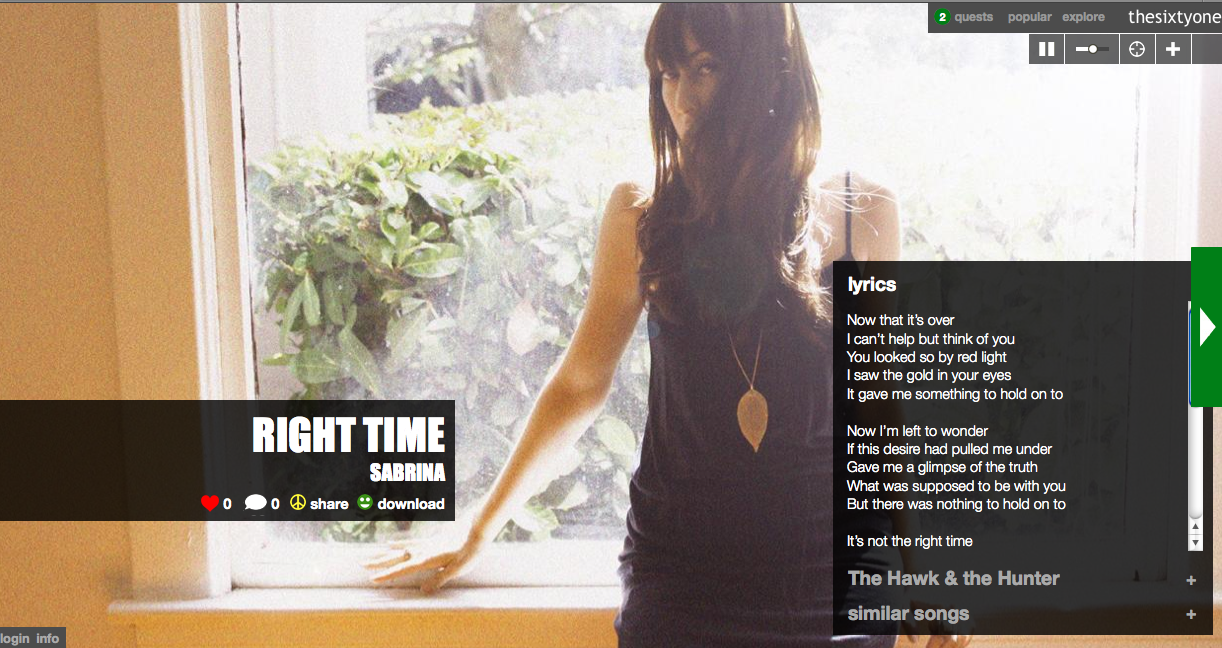 "Show some <3 for ""Right Time"" now on thesixtyone.com!"