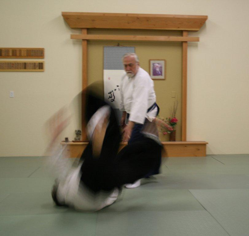 Sensei von Krenner demonstrates kokyu-nage.