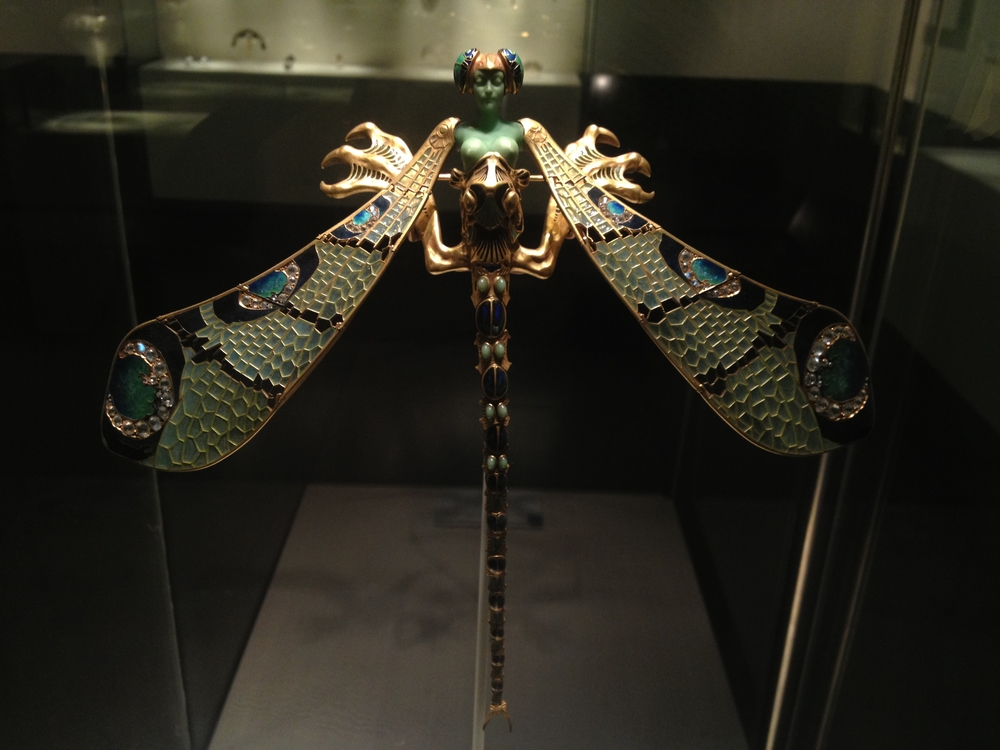 "Rene Lalique ""Dragonfly Woman"" Corsage Ornament 1897-1898  Gold, Enamel, Chrysoprase, Chalcedony, Moonstones and Diamonds"