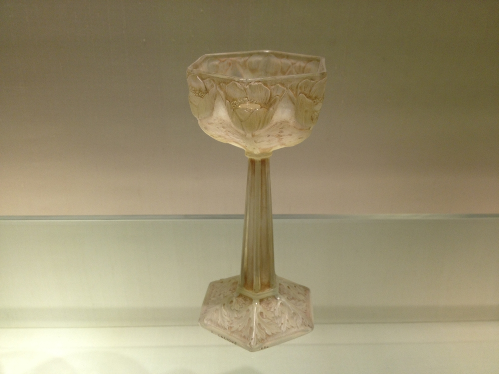 "Rene Lalique ""Anemones Goblet"" Signed and dated ""R. LALIQUE 1904"" Opalescent clear glass"