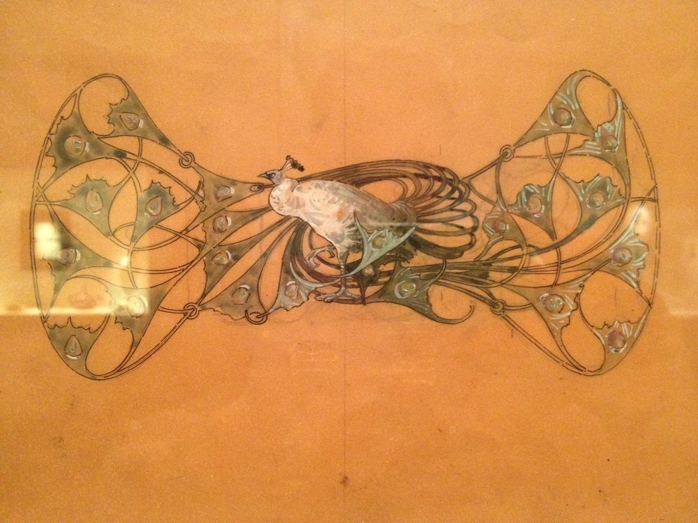 "Rene Lalique Drawing for ""Peacock Corsage Ornament"" Undated Pencil, India ink and gouache on paper"