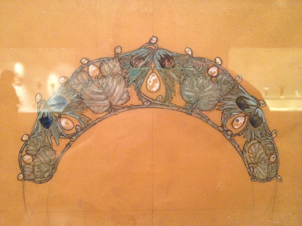 "Rene Lalique Drawing for ""Hazel Branch"" diadem Undated Pencil, India ink and gouache on paper"