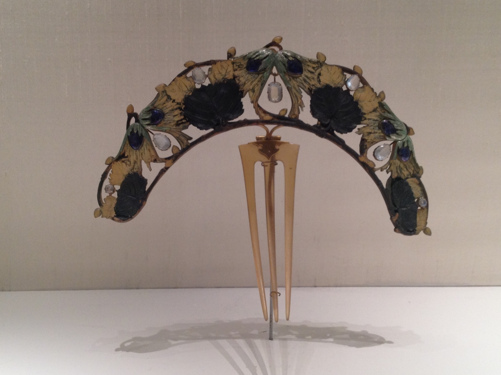 "Rene Lalique ""Hazel Branch"" diadem c 1900-1902 Horn, gold, enamel, silver and moonstones"