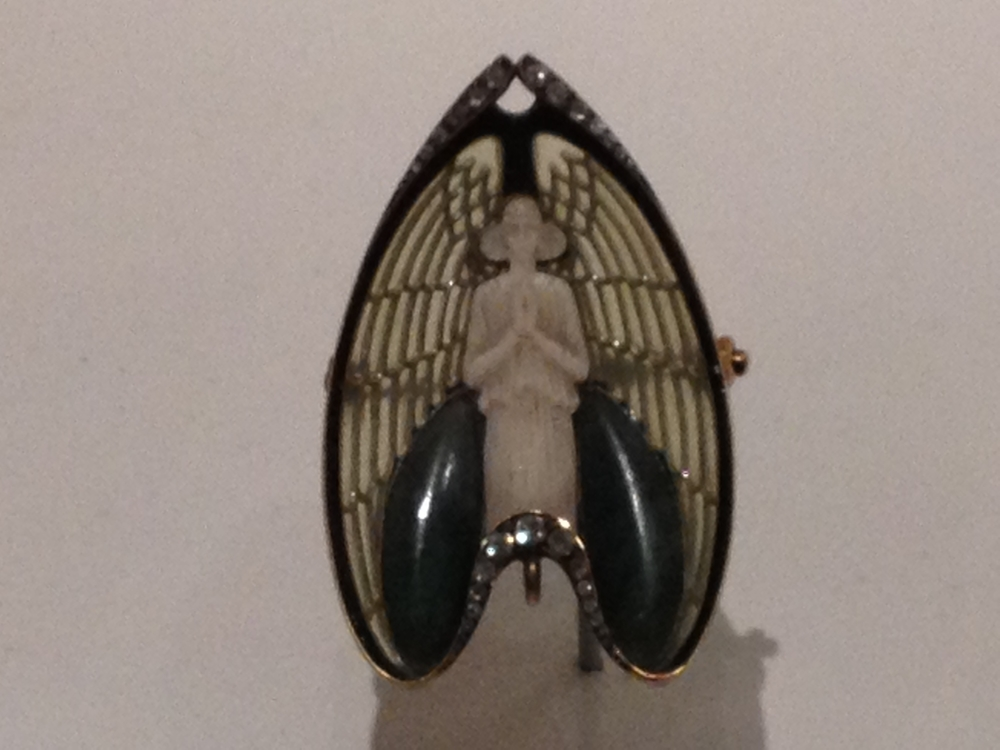 "Rene Lalique ""Angel"" brooch c 1902 Gold, ivory, enamel, diamonds and jade"