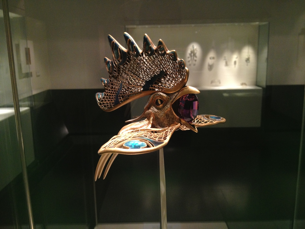 "Rene Lalique ""Cockerel"" diadem c 1897-1898 Gold, enamel, horn and amethyst"
