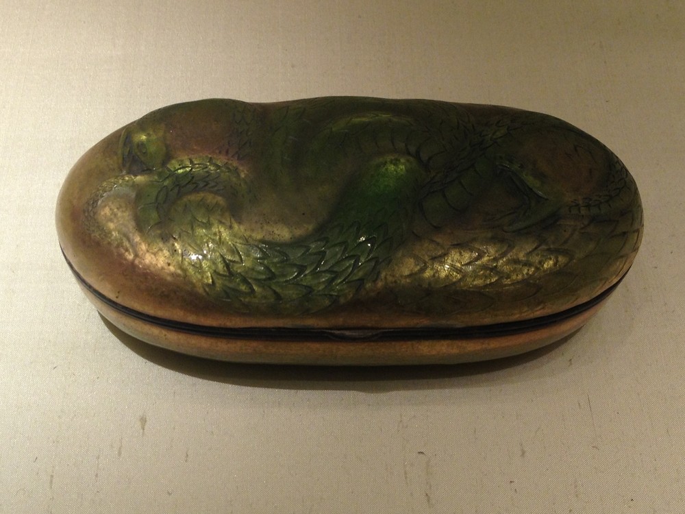 "Rene Lalique ""Serpents"" box c 1900-1902 Copper, silver and enamel"