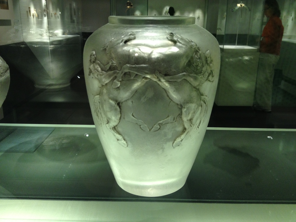 "Rene Lalique ""Horsemen"" vase c 1911 Clear patinated glass"