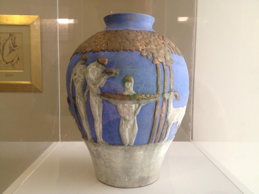 "Ernesto Canto da Maya ""Vase"" 1917 Polychrome terracotta"