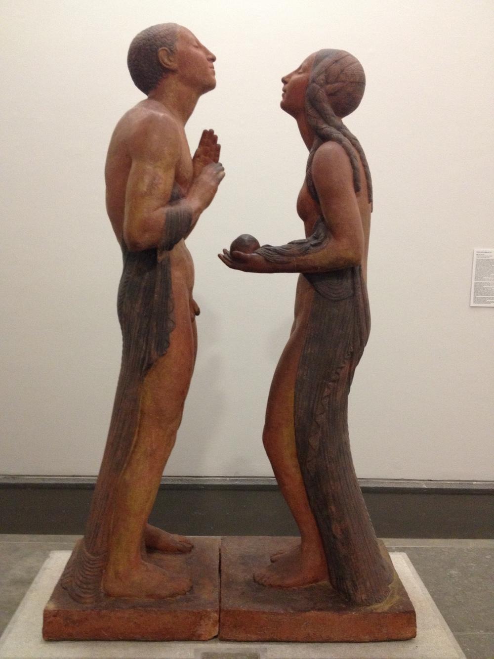 "Ernesto Canto da Maya ""Adao e Eva"" 1929-1939 Polychrome terracotta"