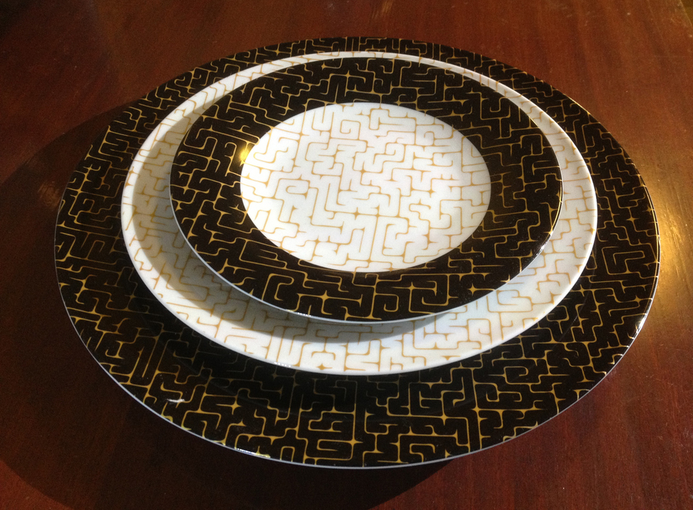 Jesse Waugh Labyrinthine Plates 2013 Porcelain