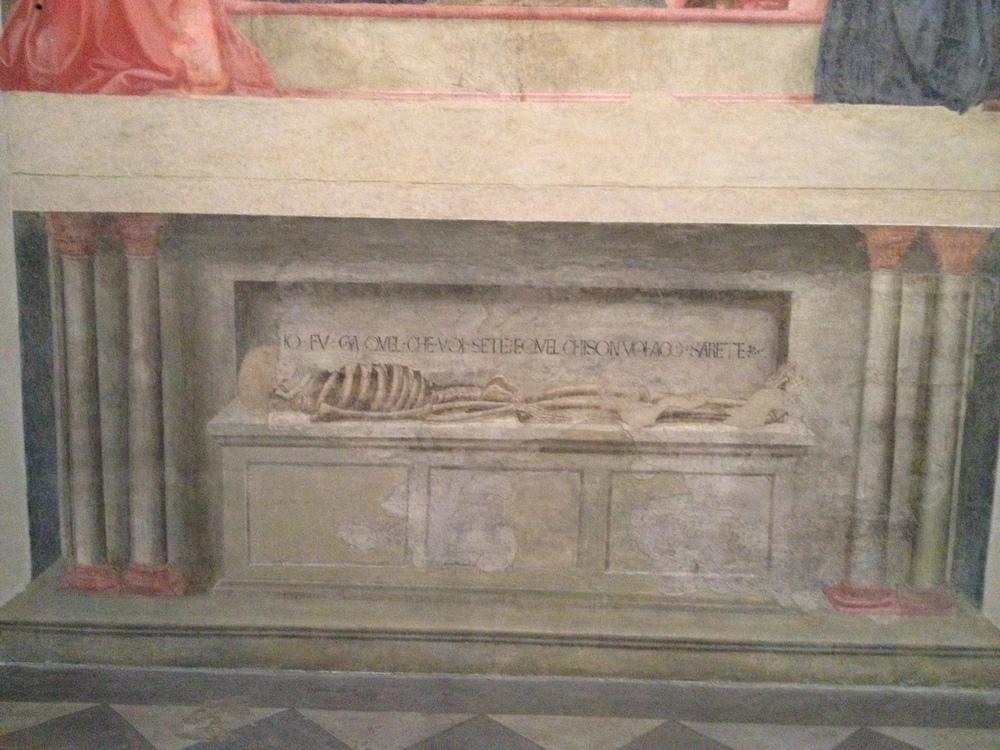 Masaccio Holy Trintiy detail: Memento mori skeleton