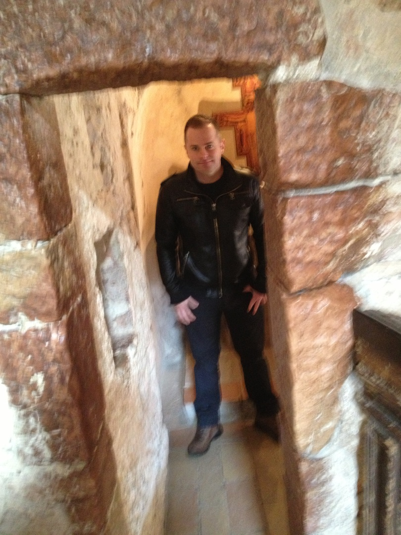 Jesse Waugh in the Grotto of St. Francis at the Hermitage of Saint Francis